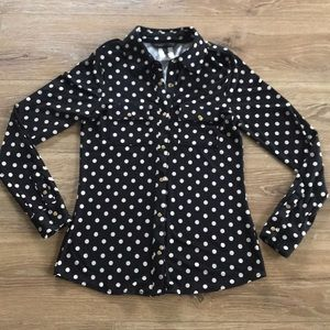 BCBG Maxazria Polka Dot Long Sleeve Top